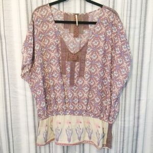Free People Sheer Peasant Tunic with Lace Sz Large